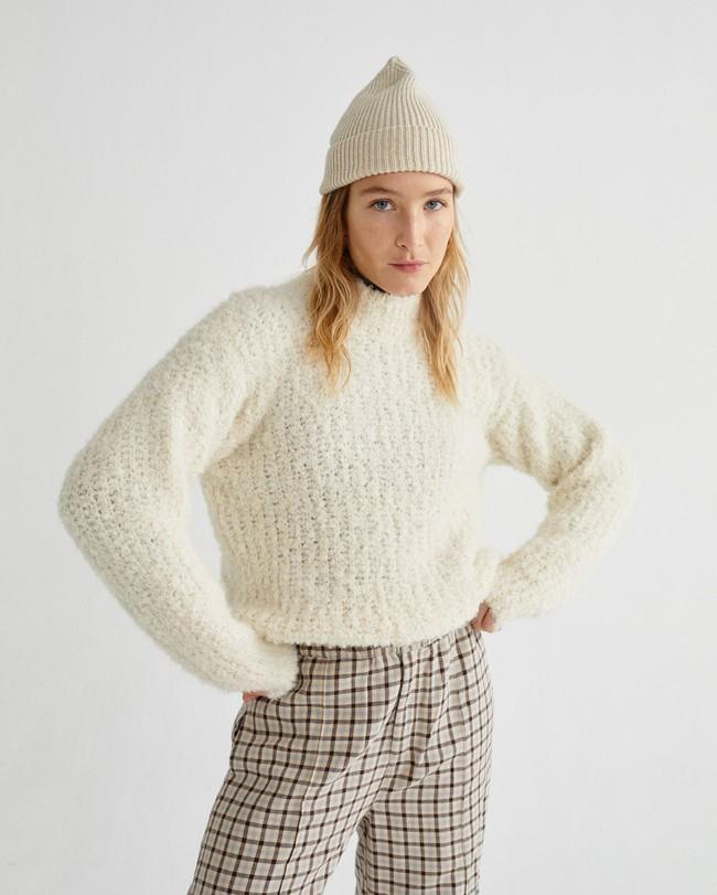 Pull à col cheminée blanc en laine d'alpaga et pet recyclé - cotys - Thinking Mu