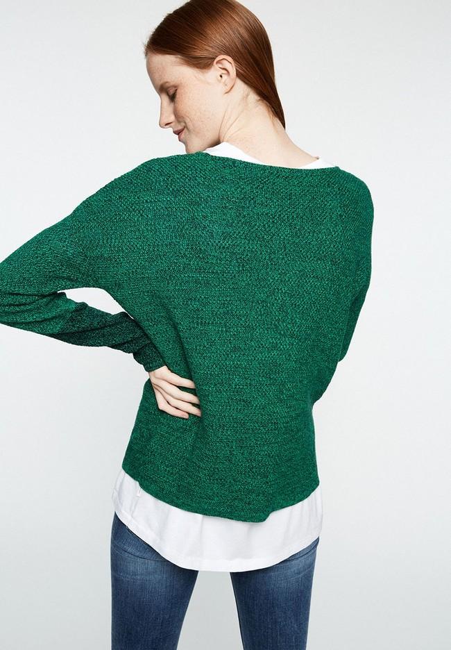 Pull en maille bicolore vert en coton bio - kaela mouliné - Armedangels num 1