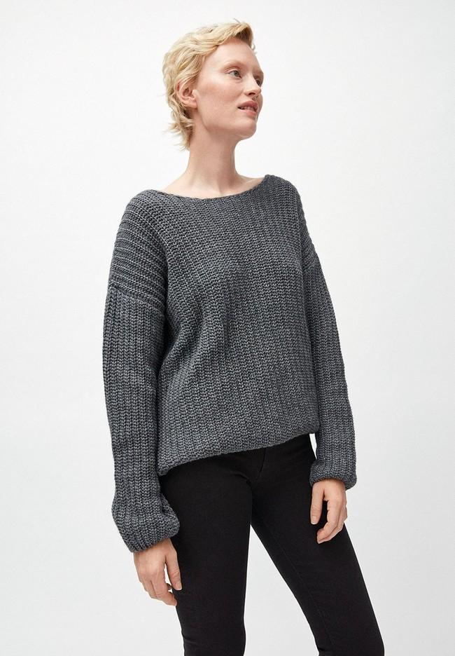Pull en maille gris en coton et laine bio - saadie - Armedangels