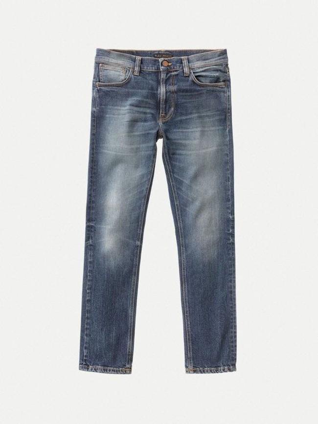 Jean slim indigo délavé en coton bio - lean dean indigo shades - Nudie Jeans num 6