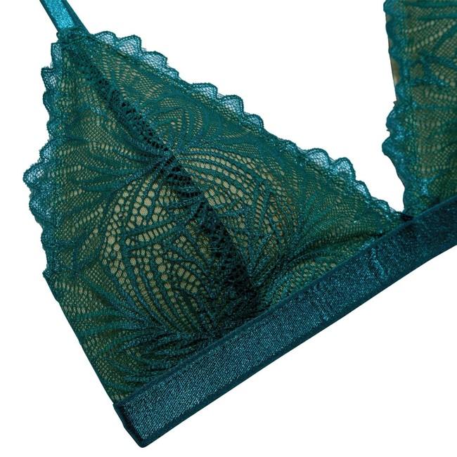 Soutien-gorge en dentelle turquoise en élasthanne recyclé - lima - Underprotection num 1