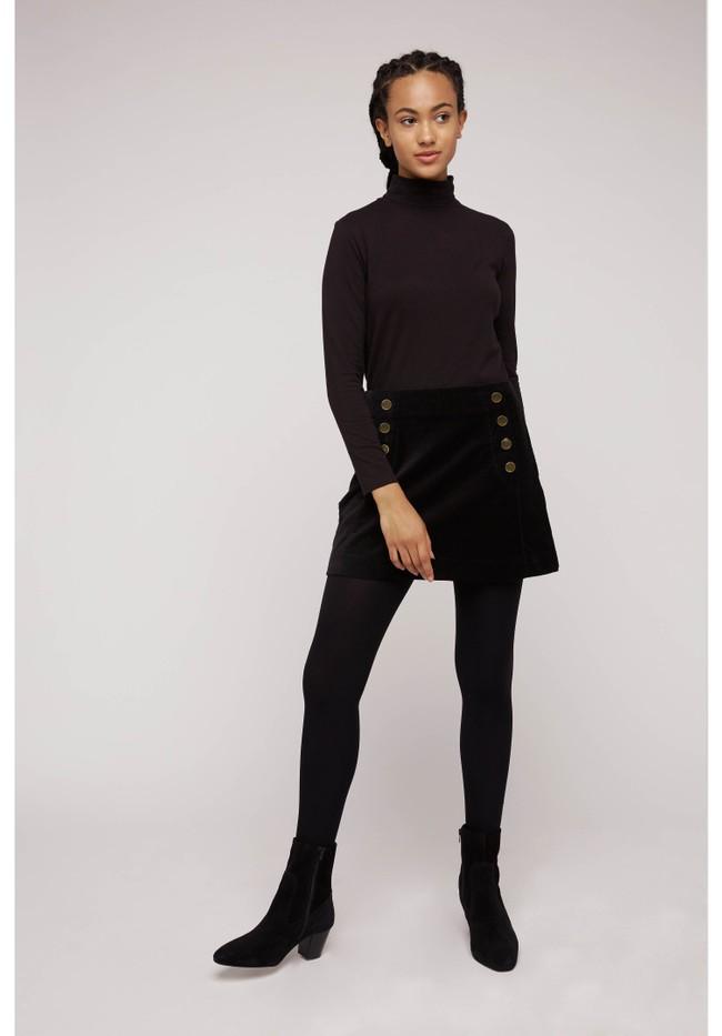 Jupe noire velours en coton bio - layla - People Tree num 1