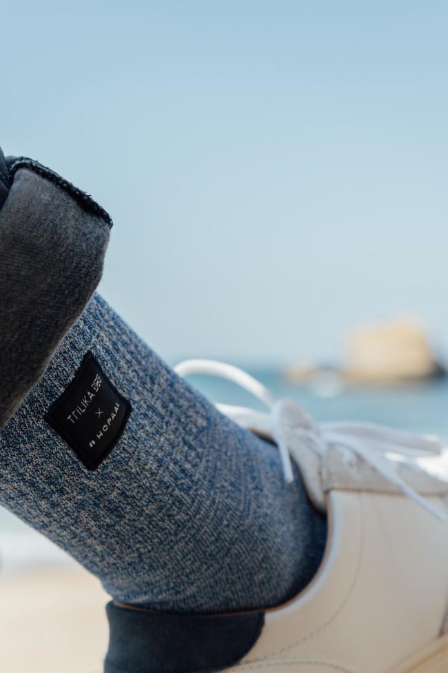 Chaussettes recyclées - ozeano bleu chiné - Hopaal num 2