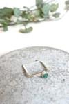 Bague carrée béton et argent - vert - Elle & Sens - 3