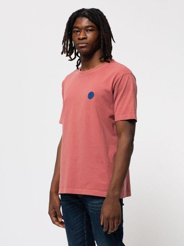T-shirt ample corail logo bleu en coton bio - uno njco circle - Nudie Jeans num 1