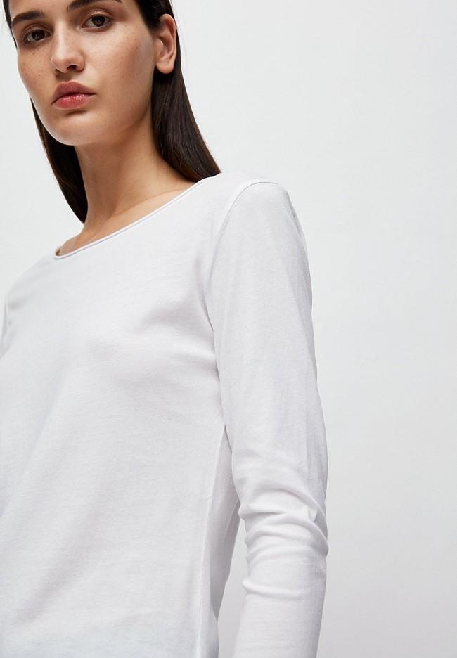 T-shirt manches longues blanc en coton bio - rojaa - Armedangels num 3