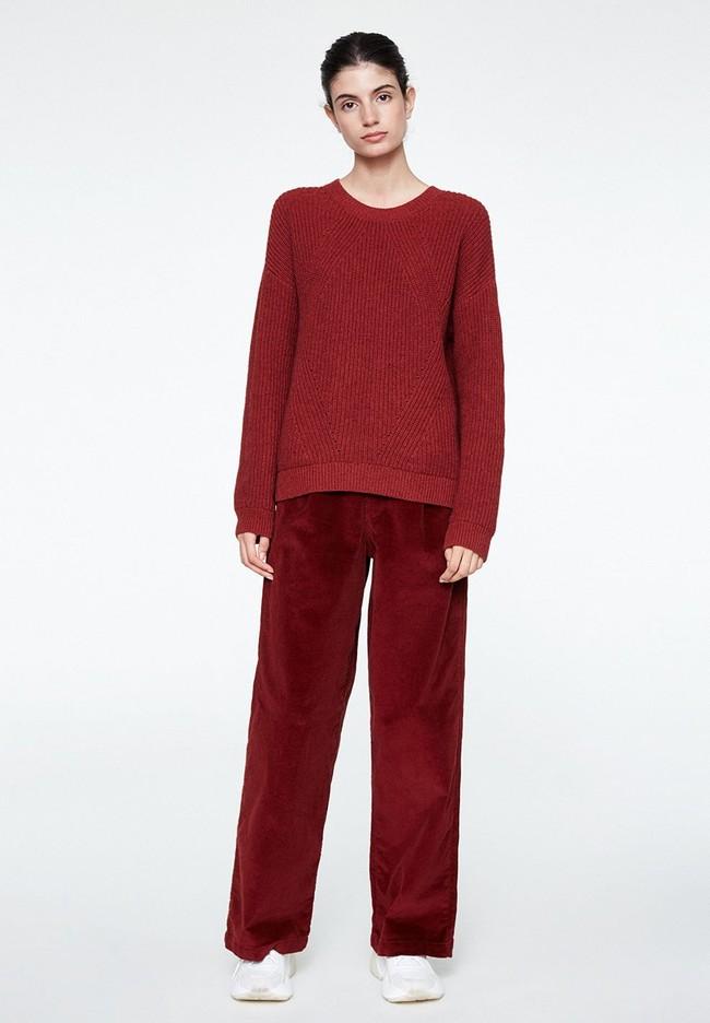 Pull rouge en coton et laine bio - melin - Armedangels num 3