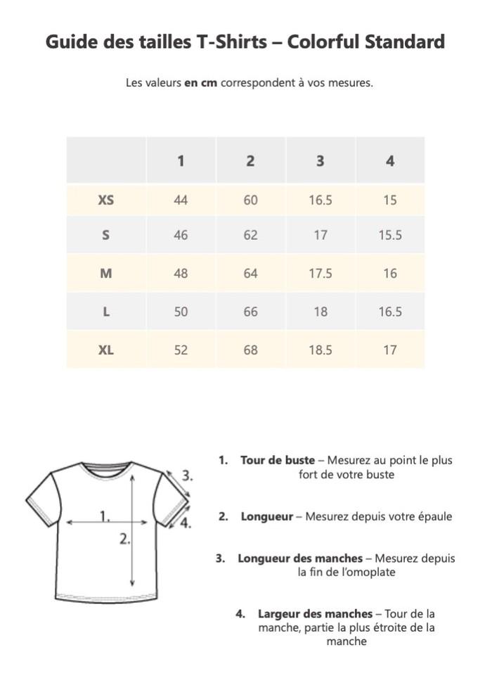 Guide de taille Colorful Standard