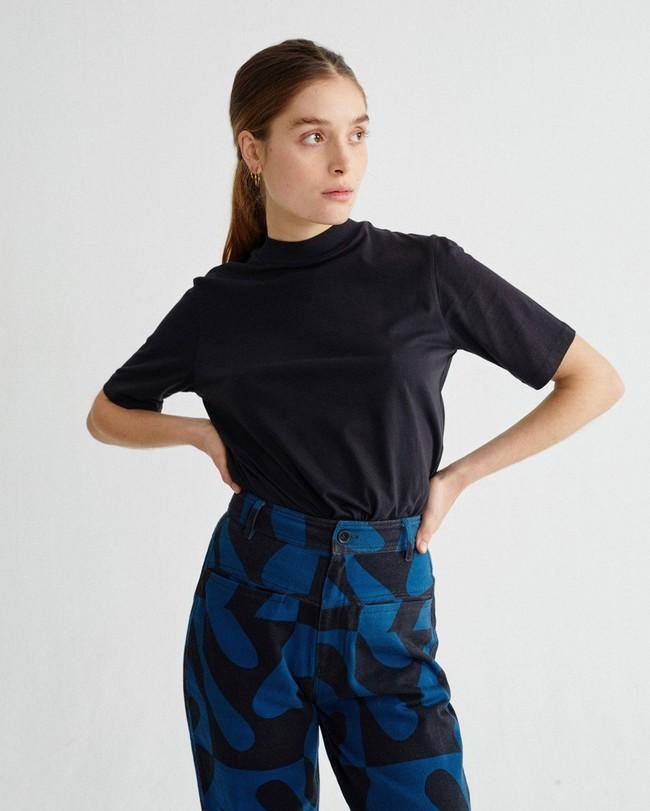 T-shirt manches 3/4 noir en chanvre et coton bio - aidin - Thinking Mu