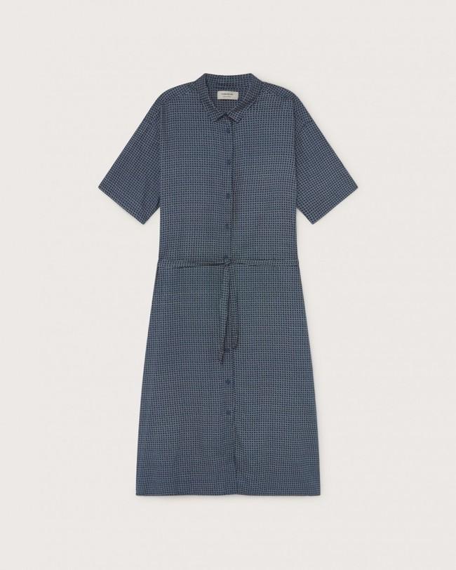 Robe longue oversize bleue en coton bio - mandy - Thinking Mu num 4
