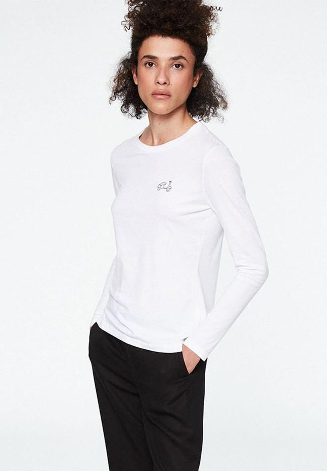 T-shirt manches longues brodé en coton biologique - laraa vespa - Armedangels