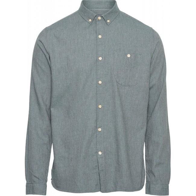 Chemise en flanelle vert-de-gris en coton bio - Knowledge Cotton Apparel