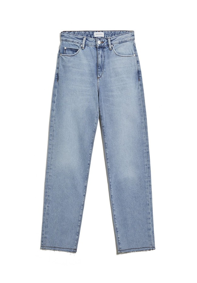 Jean droit bleu clair en coton bio -  fjellaa cropped mid blue - Armedangels num 5