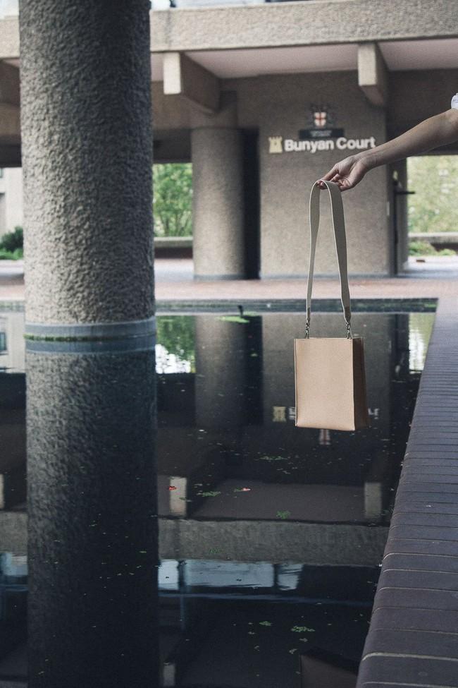 Sac beige en cuir recyclé - book bag - Walk with me num 5