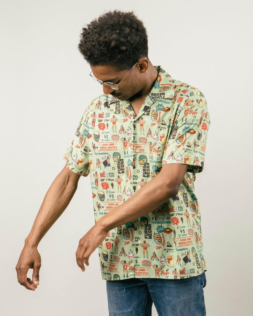 Lucha libre aloha shirt - Brava Fabrics