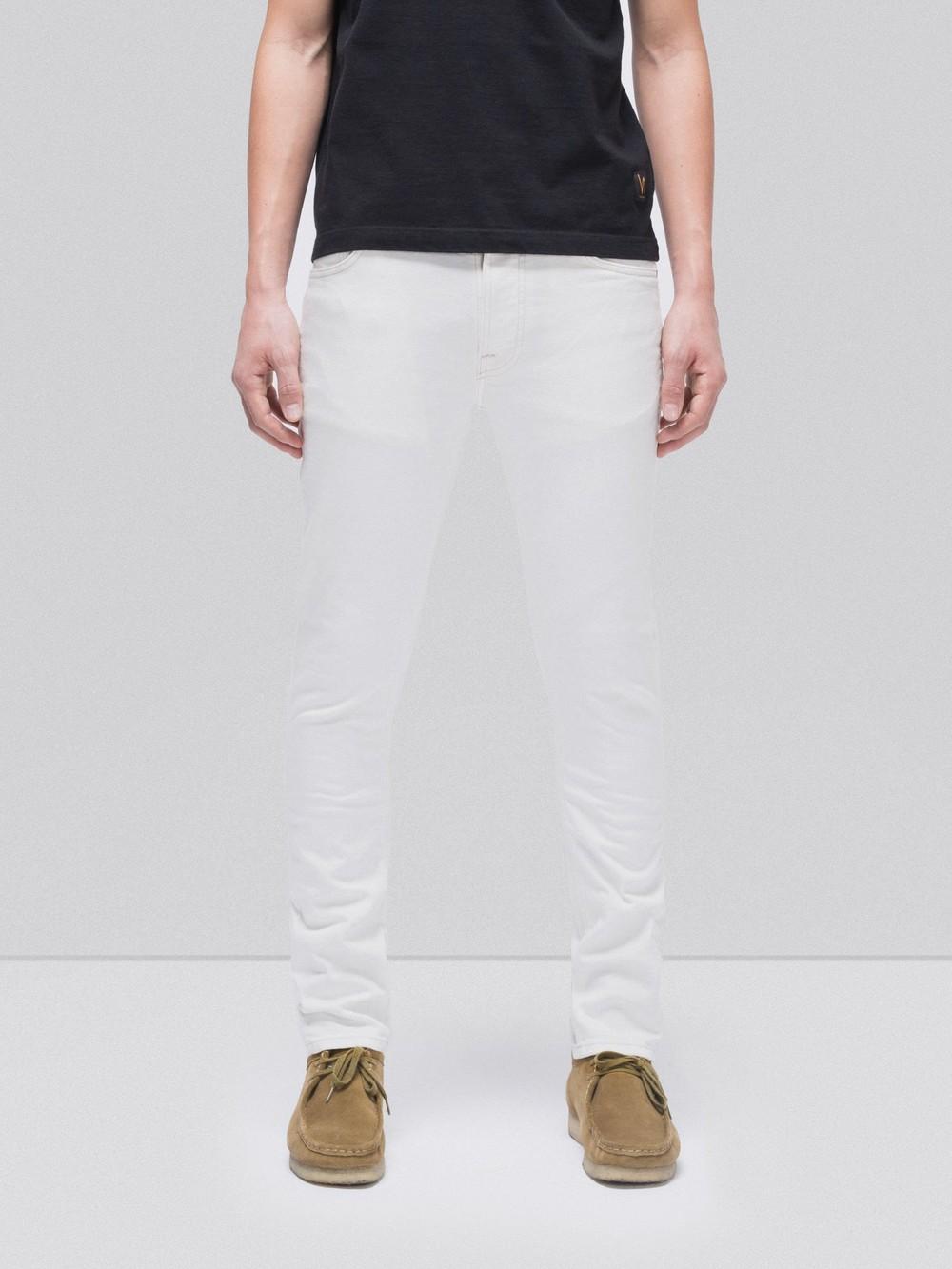 Jean slim blanc en coton bio - lean dean ecru - Nudie Jeans
