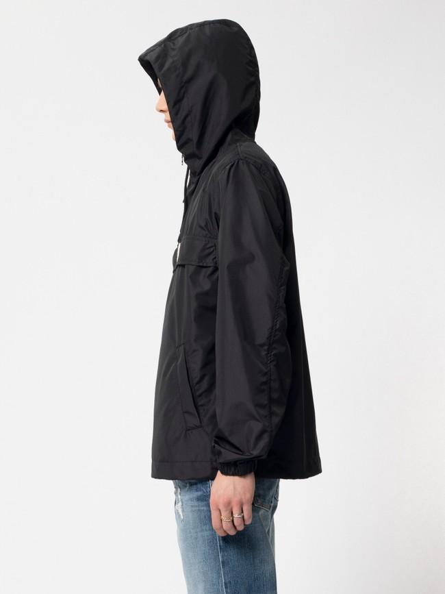 Anorak pull over noir en matières recyclées - buster - Nudie Jeans num 3