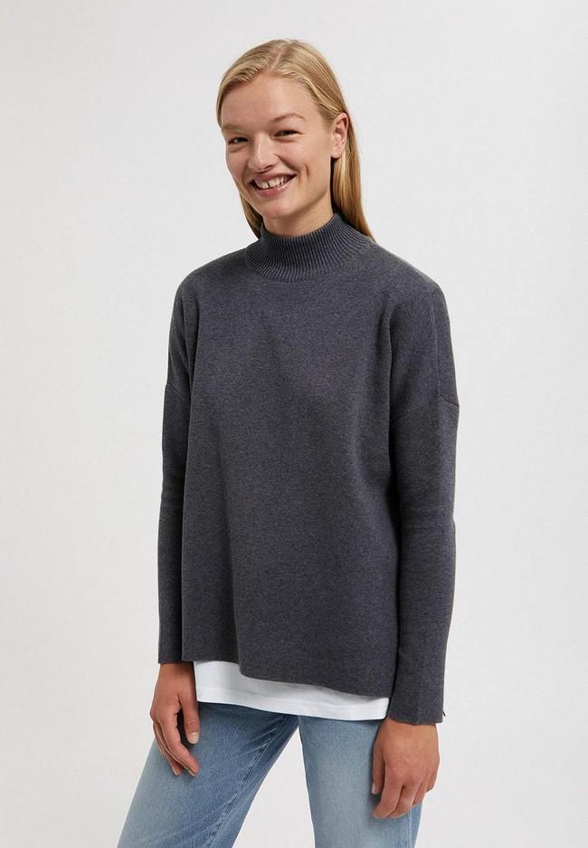 Pull ample à col cheminée gris en coton bio - yunaa - Armedangels