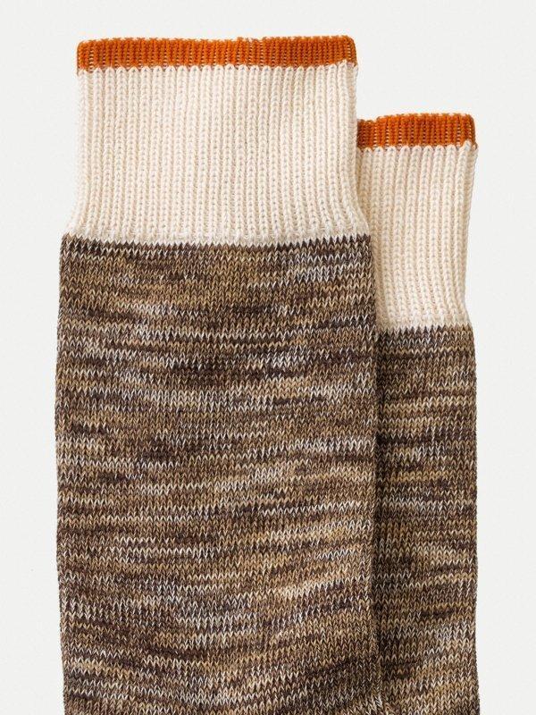 Chaussettes hautes marron chiné - rasmusson - Nudie Jeans num 1