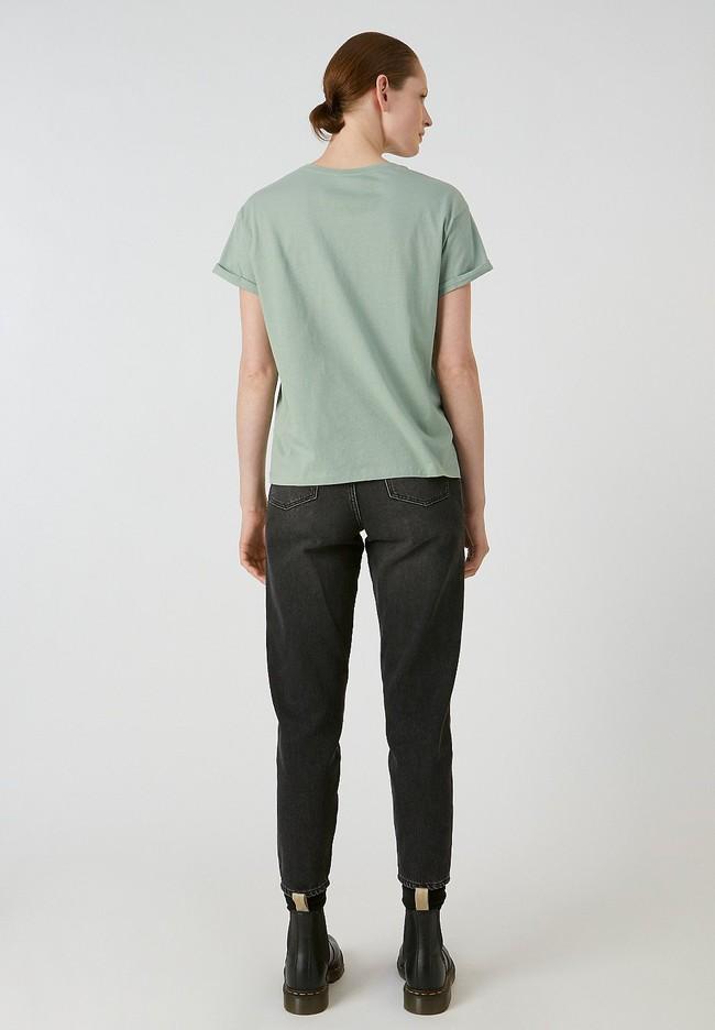 T-shirt vert en coton bio - naalin girl scout - Armedangels num 2