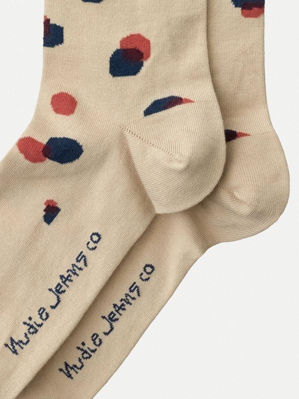 Chaussettes hautes beiges à pois en coton bio - olsson - Nudie Jeans num 2
