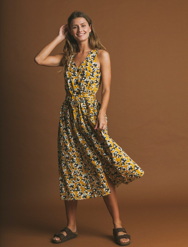 Robe longue jaune motifs fleurs en coton bio - abstract flowers - Thinking Mu num 1