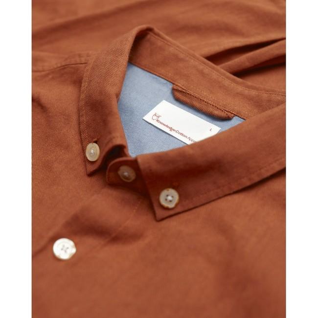 Chemise orange en coton bio - melange effet flanelle - Knowledge Cotton Apparel num 1
