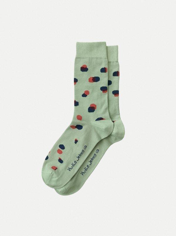 Chaussettes hautes vertes à pois - olsson - Nudie Jeans