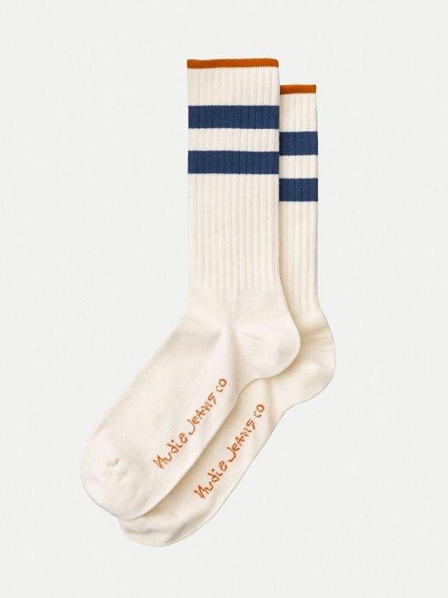 Chaussettes hautes blanc et marine en coton bio - amundsson sport - Nudie Jeans