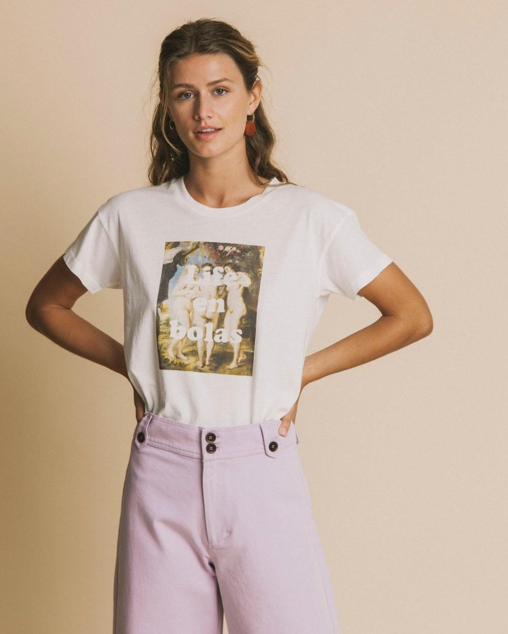 T-shirt imprimé blanc en coton bio - life en bolas - Thinking Mu