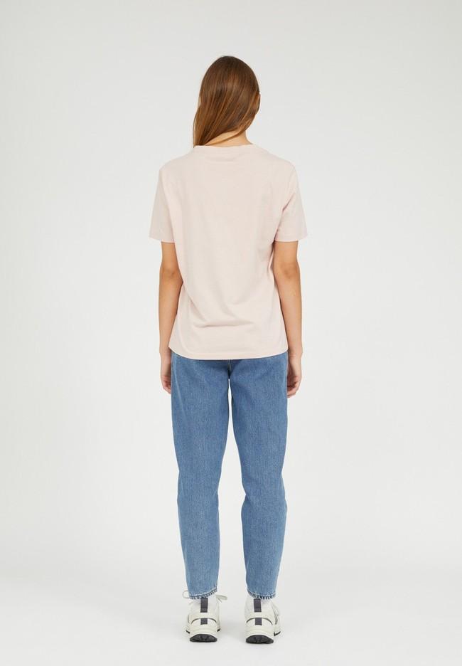 T-shirt brodé rose pâle en coton bio - maraa mindset - Armedangels num 4