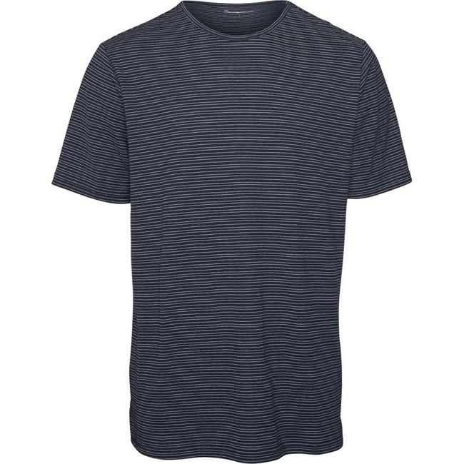 T-shirt rayé bleu marine en chanvre mélangé - Knowledge Cotton Apparel