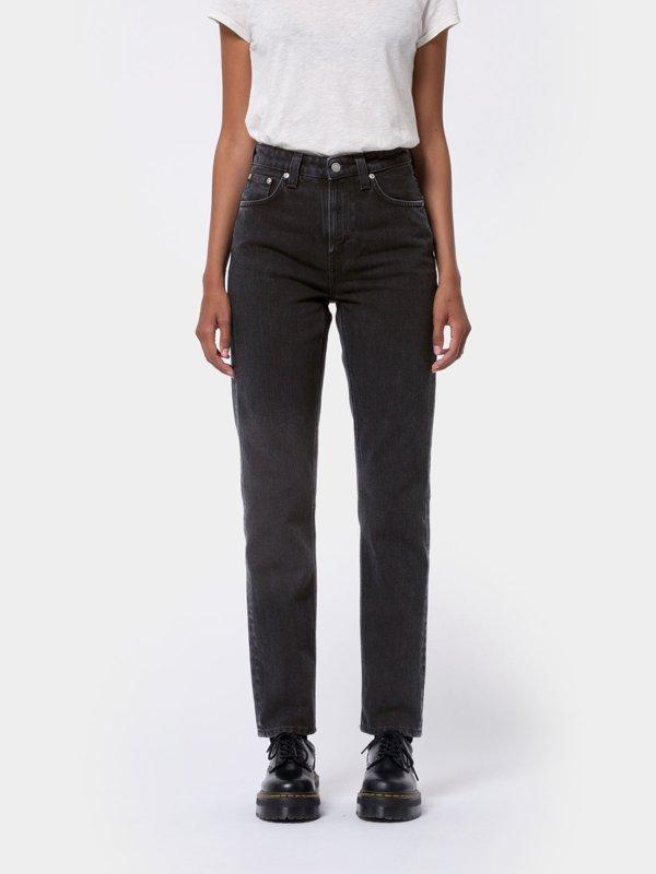 Jean mom noir en coton bio - breezy britt black worn - Nudie Jeans