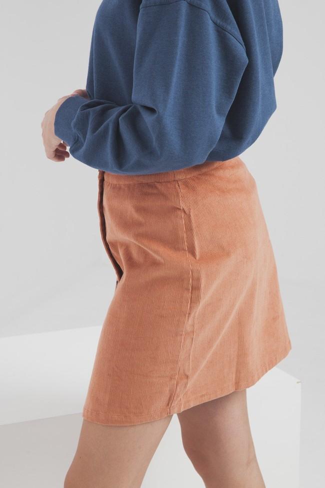 Jupe courte orange en coton biologique - Thinking Mu num 3