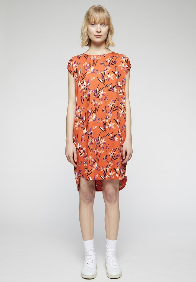 Robe orange à motifs en tencel - hilaa tropical spirit - Armedangels num 1