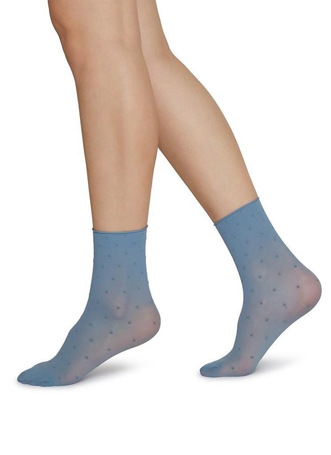 Pack 2 paires de chaussettes bleu et crème en polyamide recyclé - judith - Swedish Stockings