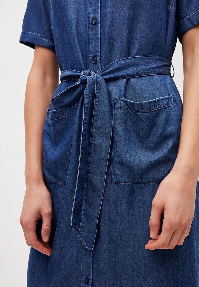 Robe col chemise bleu jean en tencel - maaisa - Armedangels num 3