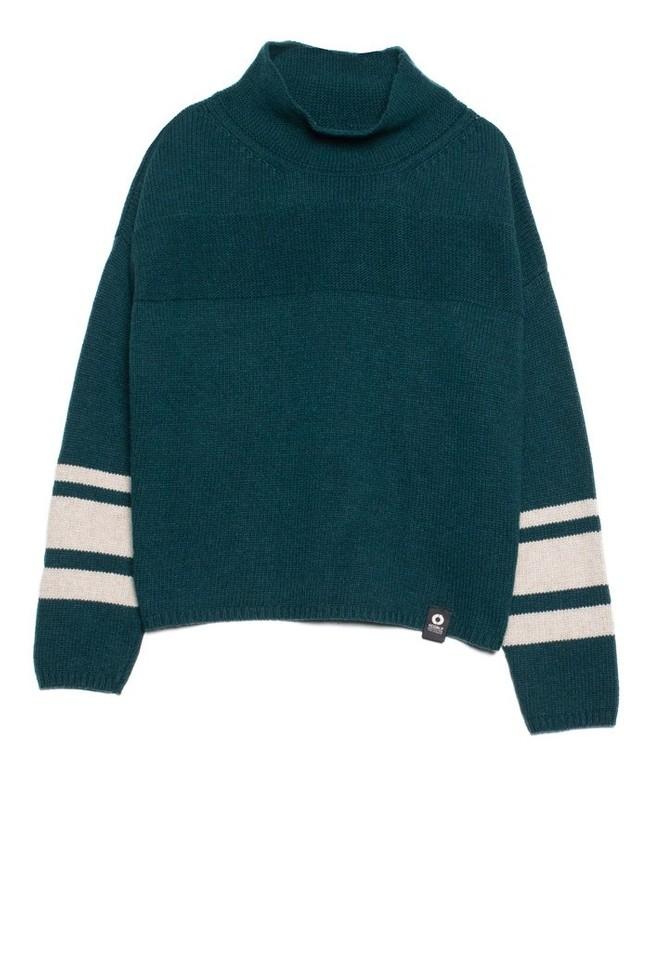 Pull en maille col haut vert en laine recyclée - dema - Ecoalf num 3