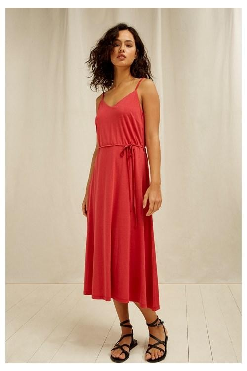 Robe longue rouge en tencel et coton bio - marcy - People Tree