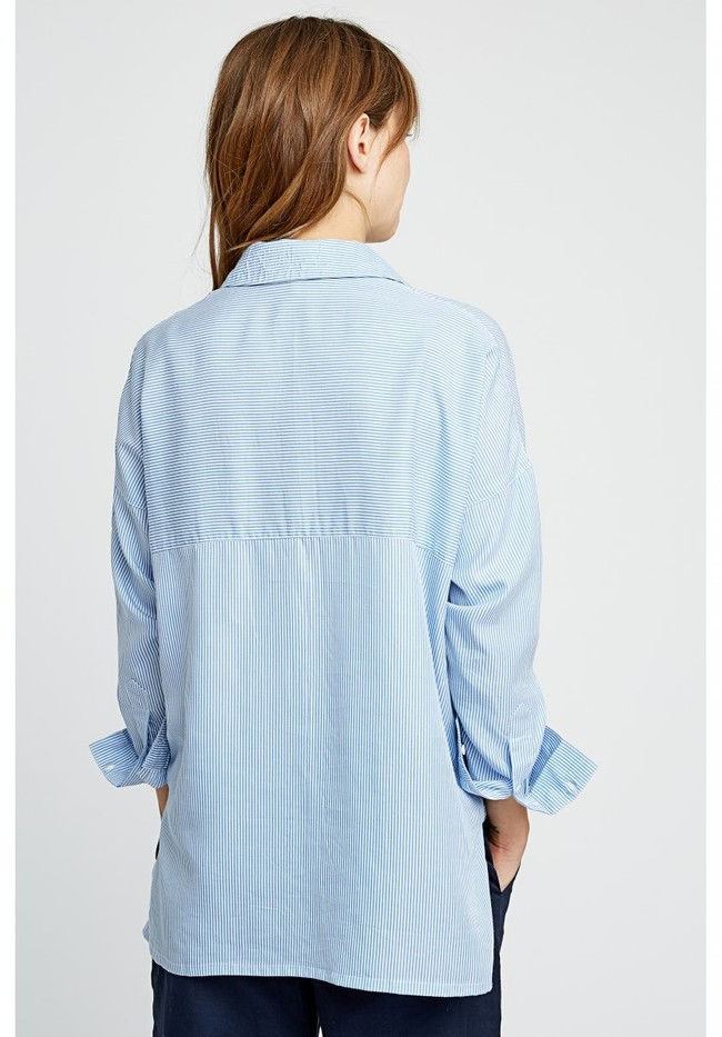 Chemise rayée bleu ciel en tencel - alice - People Tree num 2
