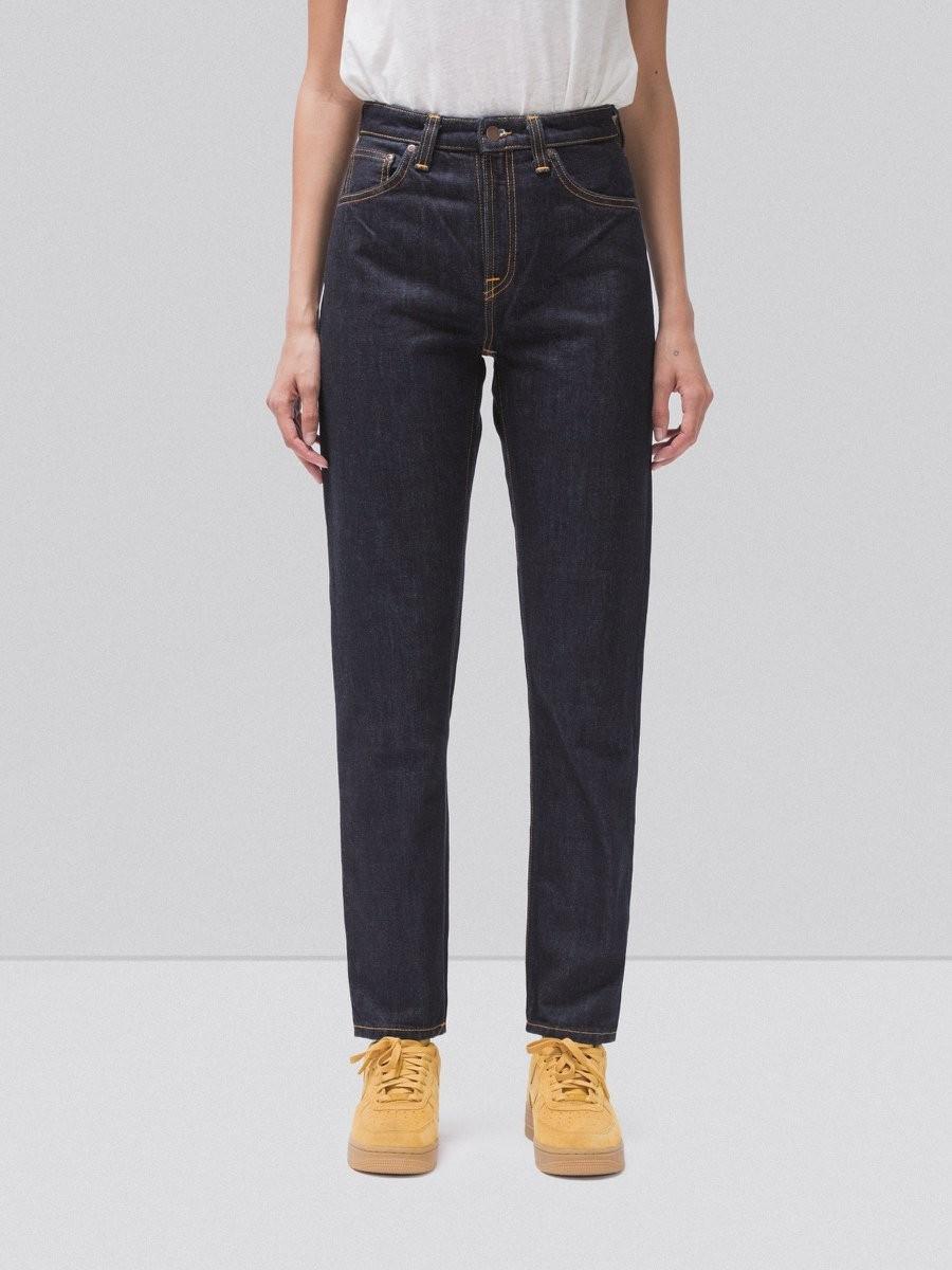 Jean droit taille haute brut en coton bio - breezy britt rinsed original - Nudie Jeans