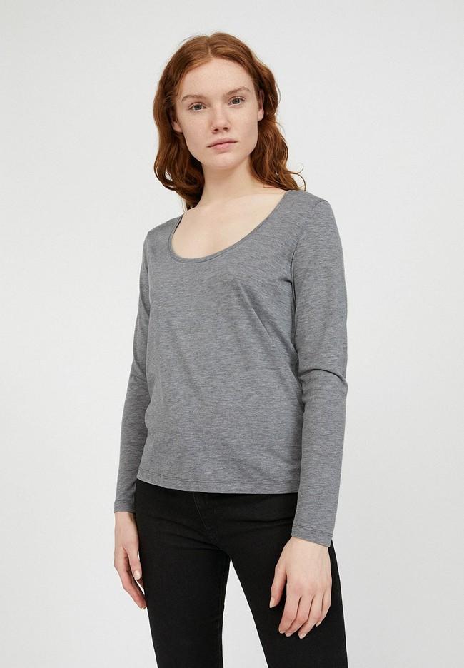 T-shirt manches longues gris en tencel et coton bio - jamaal - Armedangels