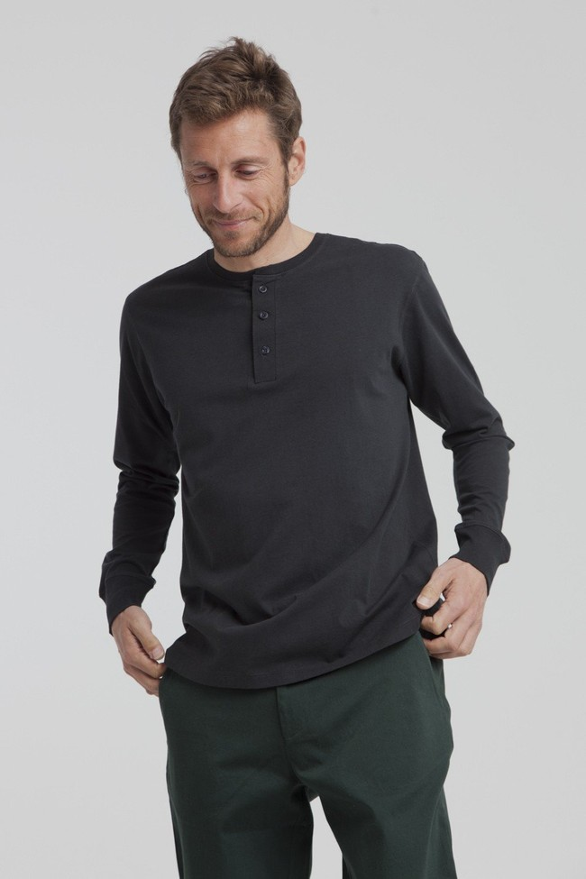 T-shirt manches longues noir en coton bio - brad - Thinking Mu num 3