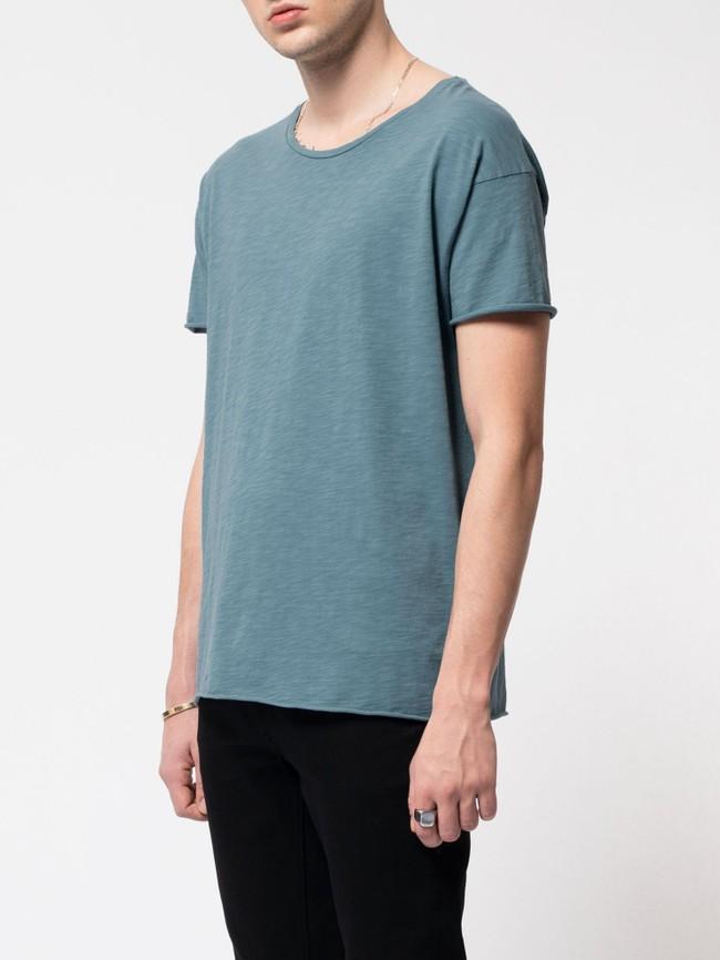 T-shirt bleu en coton bio - roger - Nudie Jeans num 1