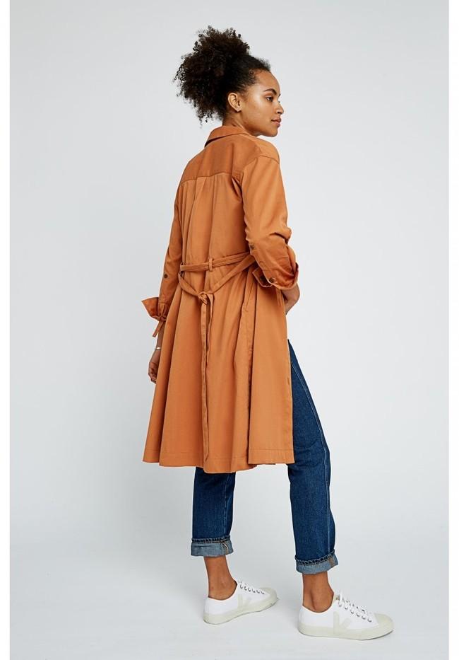 Robe longue unie camel en coton bio – penny - People Tree num 4