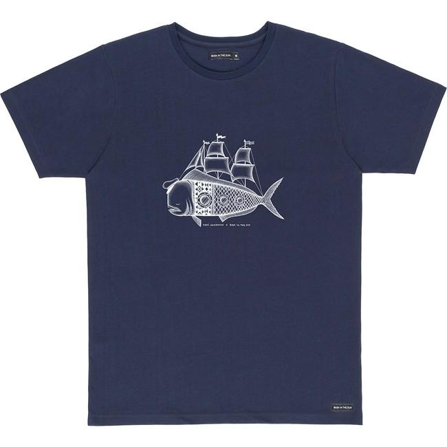 T-shirt en coton bio navy dorado - Bask in the Sun