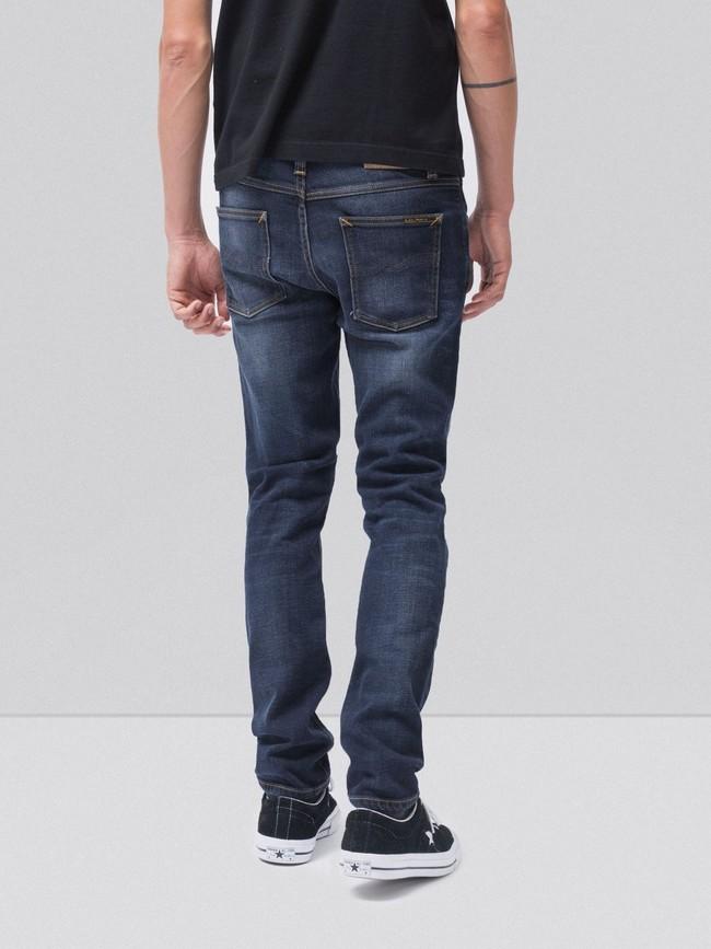 Jean slim délavé bleu foncé coton bio - lean dean dark deep worn - Nudie Jeans num 1