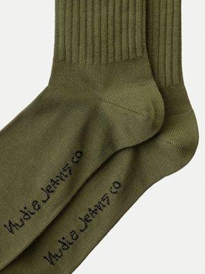 Chaussettes hautes vertes en coton bio - amundsson sport - Nudie Jeans num 1