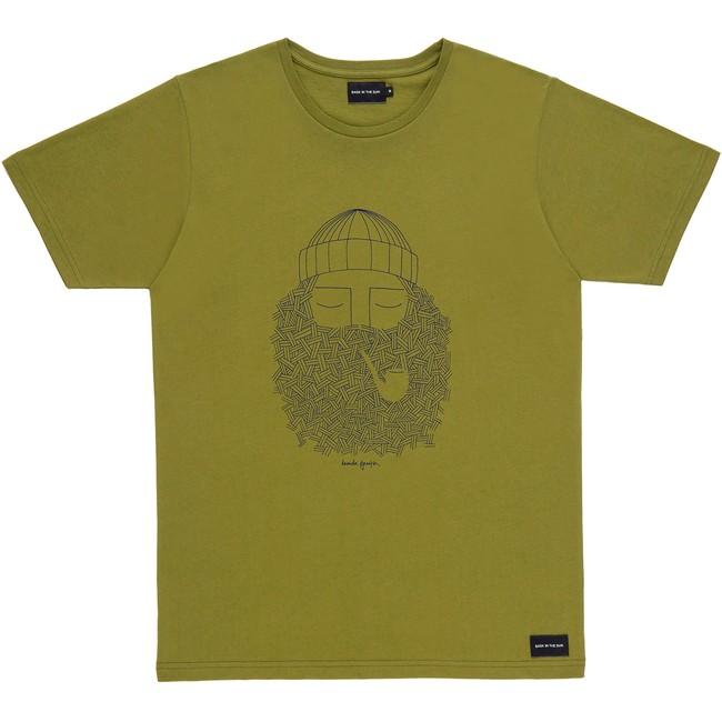 T-shirt en coton bio kaki smoking pipe - Bask in the Sun