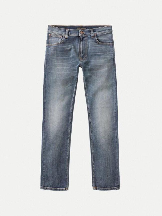 Jean bleu délavé en coton bio - thin finn blue temple - Nudie Jeans num 6